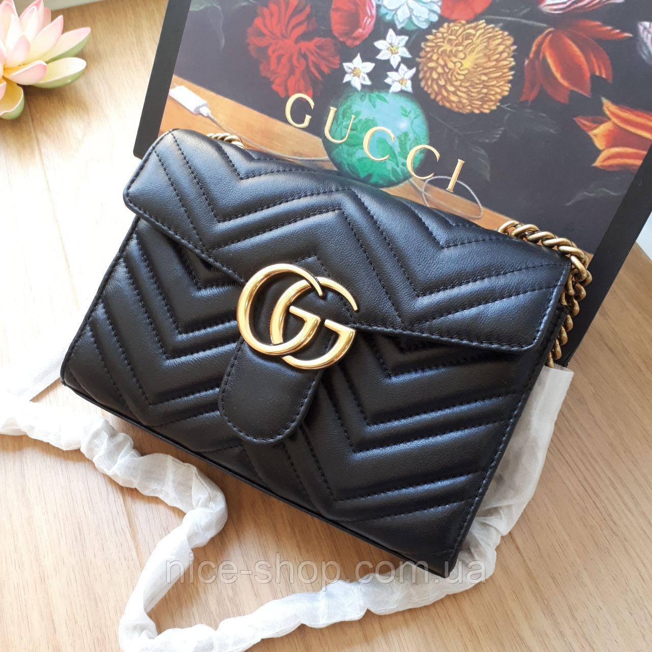Премиум-реплика сумочка Gucci натуральная кожа Люкс