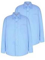 Рубашка на мальчика  голубая  6-7 лет