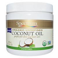 Органическое, кокосовое масло, нерафинированное, 443 мл, Spectrum Essentials, Organic Unrefined Coconut Oil