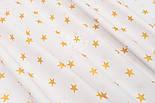 """Ткань Хб с глиттерным рисунком """"Золотые звёзды"""" на белом №1448, фото 2"""