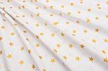 """Ткань Хб с глиттерным рисунком """"Золотые звёзды"""" на белом №1448, фото 3"""
