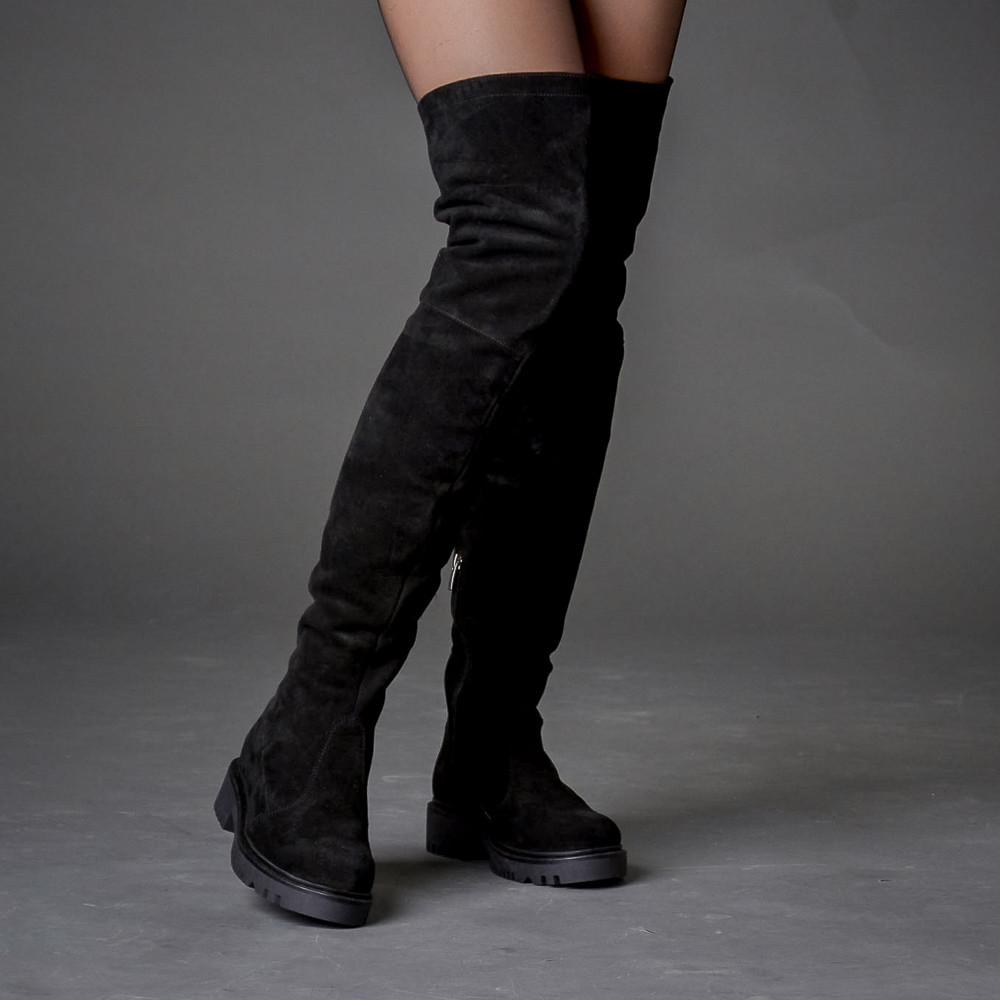 4e19f80d5 Замшевые черные высокие сапоги-ботфорты на толстой подошве. Пошив на любую  голень. Осень, зима ...
