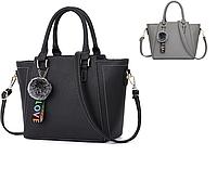 Женская сумка классическая с ручками трапеция с помпоном