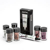 Глиттер и праймер NYX glitter primer and face and body glitter briliants (палитра 6 шт), фото 1