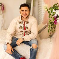 Льняная мужская вышиванка в украинском стиле Традиции