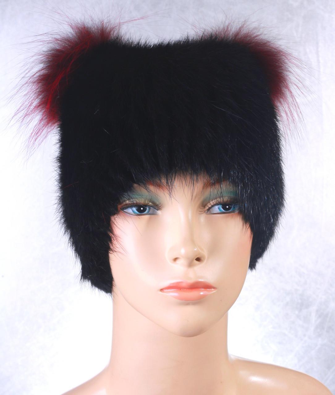 Женская меховая шапка Кошка из ондатры