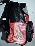 Женский маленький блестяший рюкзак из искусственной кожи с крыльями 23*26 см (золото), фото 2