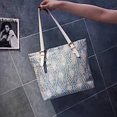 Солом'яний прямокутна плетена сумка ромб блакитний