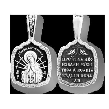 """Образок серебряный Икона Божией Матери """"Семистрельная"""" 8034"""