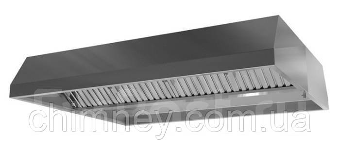 Зонт приточно-вытяжной пристенный нержавеющий сварной 0.8 мм без жироуловителей CHIMNEYBUD, 2300x1200 мм
