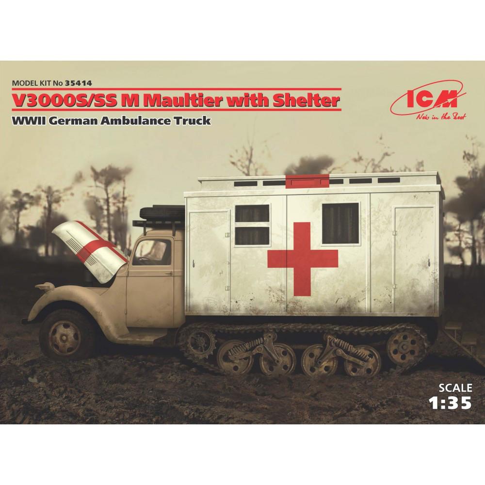 V3000S/SS M Maultier с санитарной будкой, Германский санитарный автомобиль ІІ МВ . 1/35 ICM 35414