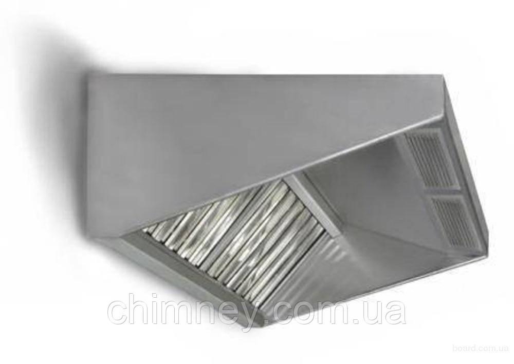 Зонт приточно-вытяжной пристенный нержавеющий 0.5 мм +Ф CHIMNEYBUD, 600x1600 мм