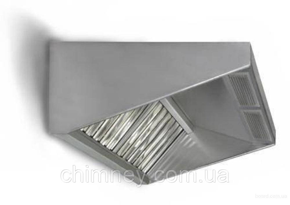 Зонт приточно-вытяжной пристенный нержавеющий 0.5 мм +Ф CHIMNEYBUD, 2500x1600 мм