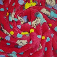 Ткань Велсофт (Махра) Минни-Маус Малиновый