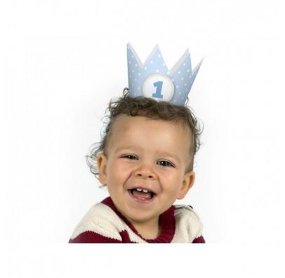 Корона на 1 годик голубая