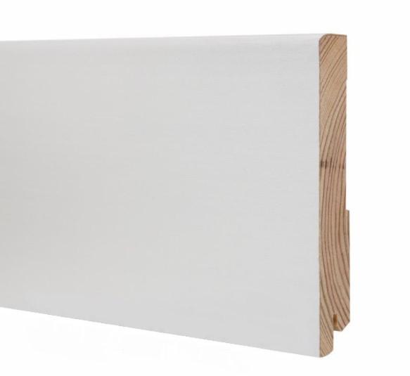 Плинтус белый напольный деревянный 120*19*2200мм, Шпонированный шелковисто-матовый
