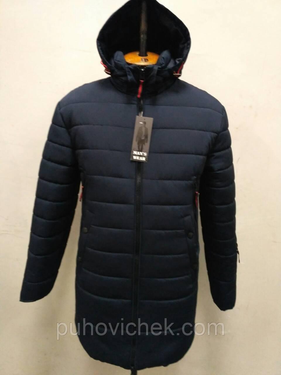 Удлиненная куртка мужская зимняя с капюшоном