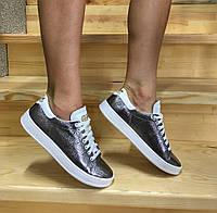 Женские кроссовки Adidas нат. кожа серебряные реплика 4f8f56bbc141f