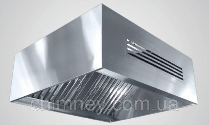Зонт приточно-вытяжной пристенный нержавеющий сварной 0.8 мм +Ф CHIMNEYBUD, 2200x1400 мм