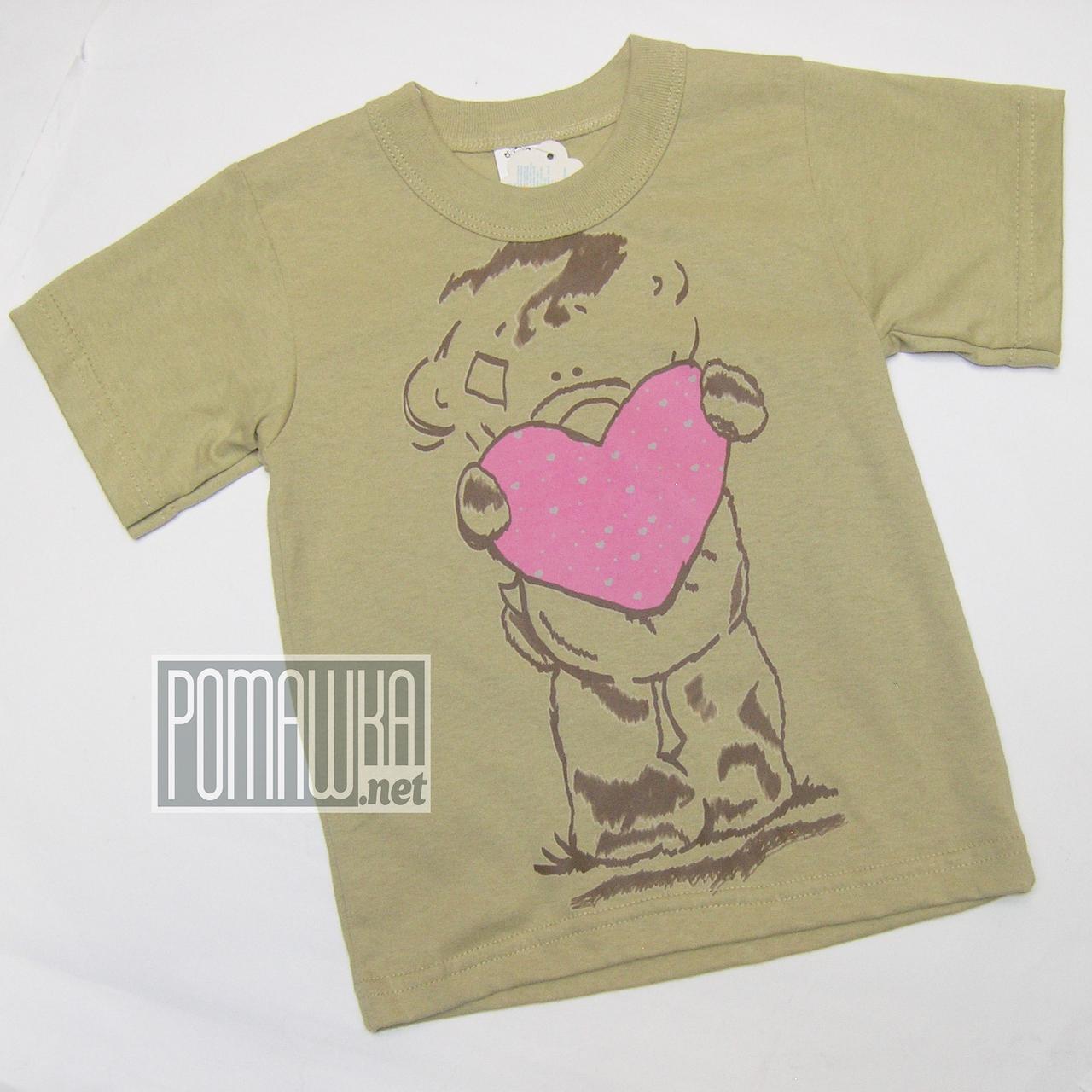 Детская футболка для девочки р. 98 ткань КУЛИР-ПИНЬЕ 100% тонкий хлопок ТМ Ромашка 4288 Бежевый