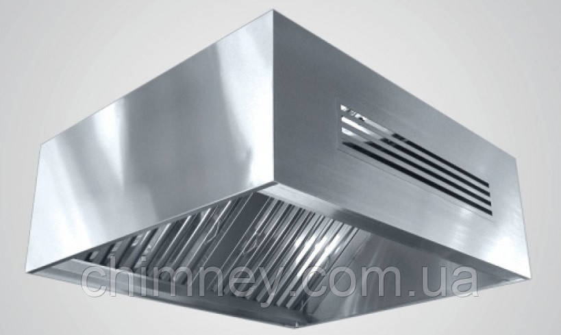 Зонт приточно-вытяжной пристенный нержавеющий сварной 0.8 мм +Ф CHIMNEYBUD, 2000x1700 мм