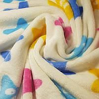 Ткань Велсофт (Махра) Звезды Молочный