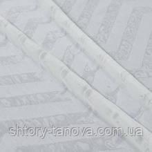 Тюль батист с утяжелителем, зиг-заг, бело-серый