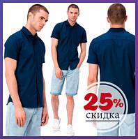 Мужская синяя рубашка LC Waikiki / ЛС Вайкики с карманом на груди