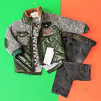 Костюм для мальчика (темно-зеленая куртка, джинсы на махре и кофта) размер 1,4 года