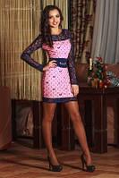 ПЛАТЬЕ 0619  розовый, темно-синий Seventeen, фото 1