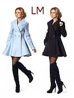 42,44,46,48 р женское осеннее пальто 15397 теплое короткое черное голубое весеннее из эко-кашемир клеш