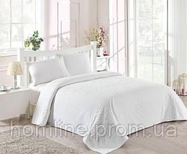 Набор постельного белья TAC сатин + махровая простынь Dama fildisi евро