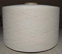 Пряжа х/б кардная пневмопрядильная Nm 17/1 ткацкая однониточная из волокон не подвергнутых гребнечесанию