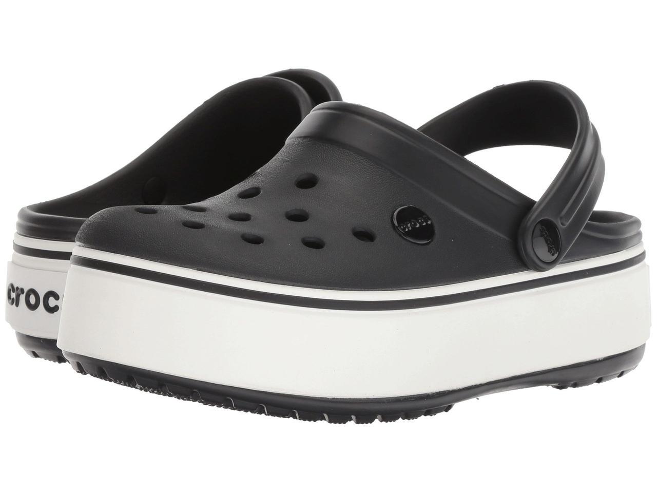 3f08856300b Сабо (Оригинал) Crocs Crocband Platform Clog Black White - TopUSA