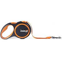 Повідець-рулетка Анімал AnimАl для собак стрічка M до 25кг 5м оранжево-чорна