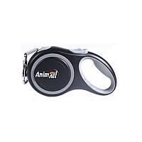 Повідець-рулетка Анімал AnimАl для собак стрічка M до 25кг 5м сіро-чорна