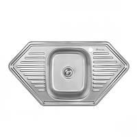 Мойка кухонная угловая 9550 (0.8 мм) матовая врезная Imperial