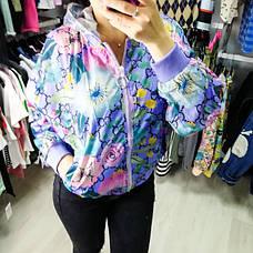 Ветровка короткая фиолетовая с капюшоном- 541-43812-3, фото 2