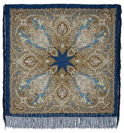 """Платок шерстяной с шелковой бахромой """"Февраль"""", 125х125 см, рис. 715-15"""