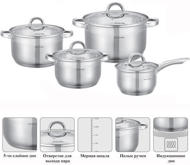 Набор посуды Kamille Glass Strip 3 кастрюли 2.9л, 3.9л, 6.5л и ковш 2.