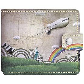 Кошелёк Fisher Gifts v.1.0. 04 Рисованный самолет (эко-кожа)