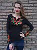 Вышиванка женская футболка мак длинный рукав 589 (Л.Л.Л)