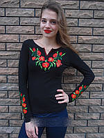 Вышиванка женская футболка мак длинный рукав 589 (Л.Л.Л) , фото 1