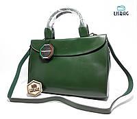 Большая деловая Зеленая сумка с натуральной кожи CÉLINE, для повседневной носки совместима с файлами и папками