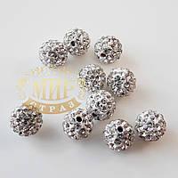 Бусина Шамбала 7 мм, цвет Crystal, 1шт