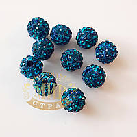 Бусина Шамбала 7 мм, цвет Blue Zircon, 1шт