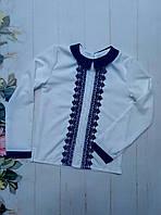 Блуза школьная детская, темно синие кружево, размер 116-140, белый