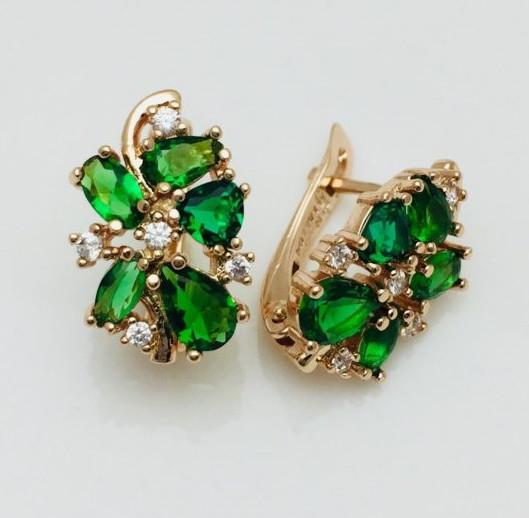 Сережки Fallon Райські з зеленими каменями