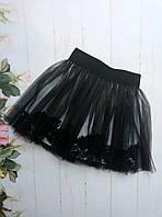 Юбка евросетка р.128-152 черная+белая подкладка
