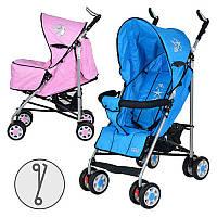 Коляска детская ARIA S1-1 прогулочная, 2 цвета (розовая,голуб), колеса 8шт(6д), чехол на ножки